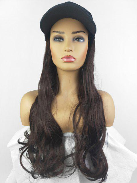 Peaked Hat Integrated Long Body Wave Synthetic Wig - MIDNIGHT BLACK FISHERMAN'S CAP