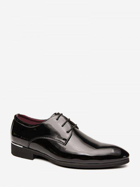 Patent Leather Pointed Toe Business Shoes - BLACK EU 42