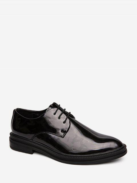 Faux Leather Pointed Toe Business Shoes - BLACK EU 41