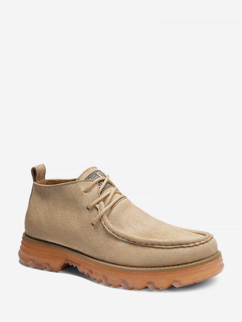 Casual Moc Toe Suede Mid Top Boots - YELLOW EU 40