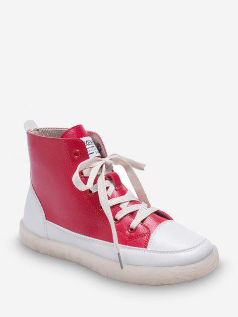 Contrast Color PU Leather High Top Casual Shoes - CHERRY RED EU 38