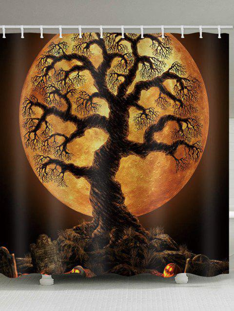 Rideau de douche imperméable à l'eau Halloween Tree Moon Night Print - Orange Halloween W71 X L79 INCH