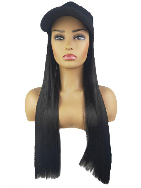 Peaked Hat Integrated Long Straight Synthetic Wig - BLACK BLACK FISHERMAN'S CAP