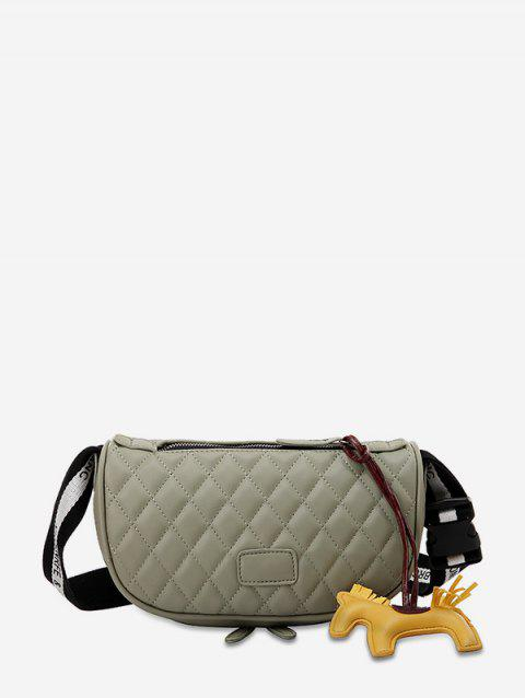 Horse Pendant Quilted Wide Strap Crossbody Bag - DARK SEA GREEN