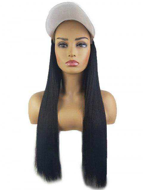Peaked Hat Integrated Long Straight Synthetic Wig - BLACK WHITE FISHERMAN'S CAP