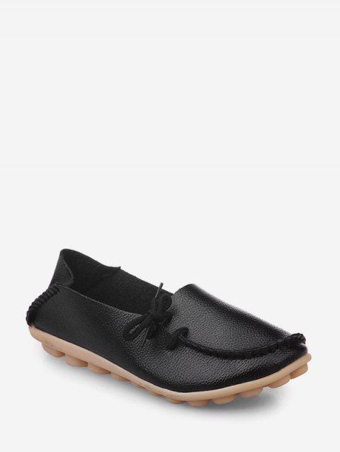 Plain Bowknot PU Leather Doug Shoes - BLACK EU 41