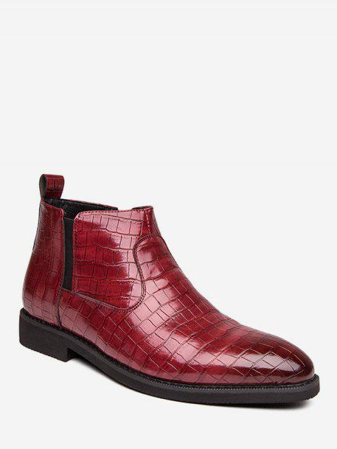 Snakeskin Embossed Pointed Toe Chelsea Boots - RED EU 39