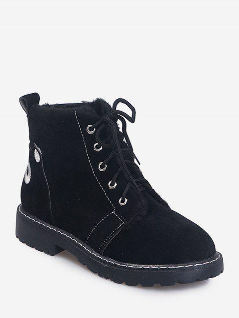 Back Animal Embroidery Suede Ankle Boots - BLACK EU 38