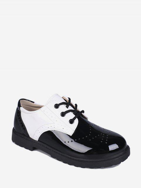 Wingtip Patent Leather Round Toe Shoes - WHITE EU 41