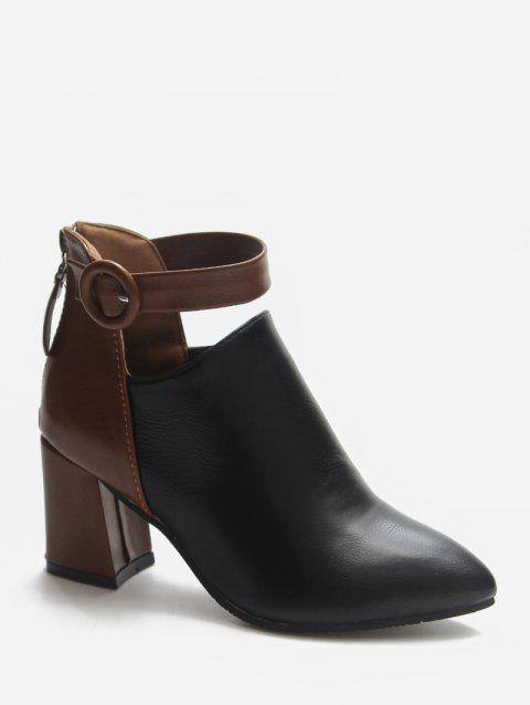 Contrast Buckle Strap Pointed Toe Ankle Boots - BLACK EU 39