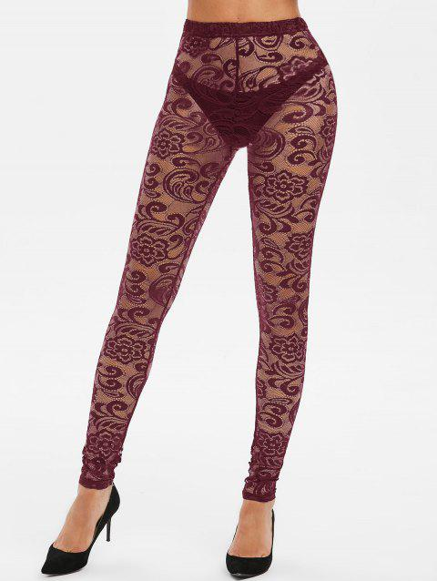 Legging Gothique d'Halloween en Dentelle Transparente - Rouge Vineux XL