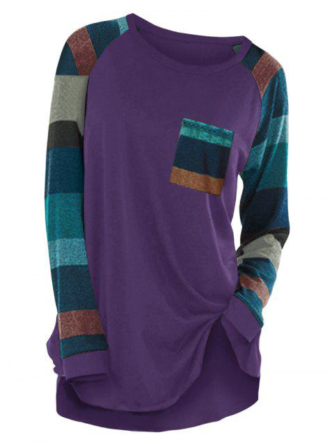 Striped Raglan Sleeve Pocket Longline T-shirt - PURPLE IRIS XL