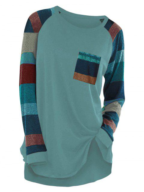Striped Raglan Sleeve Pocket Longline T-shirt - BLUE HOSTA 3XL