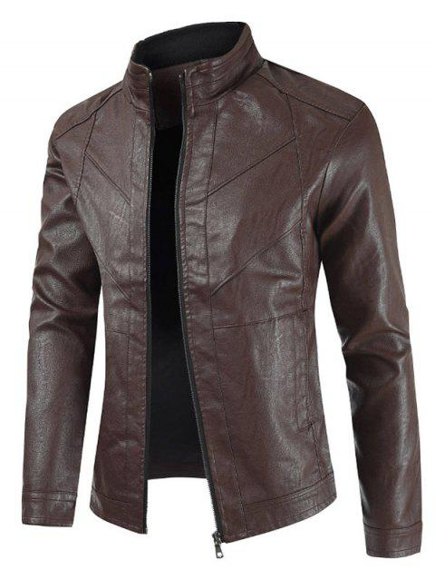 Solid Color Zip Up Faux Leather Jacket - RED WINE XL