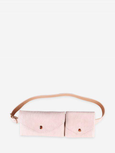 Vintage Double Bag Design Fanny Pack Belt - BEIGE