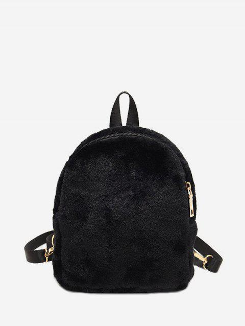 Solid Faux Fur Mini Teddy Backpack - BLACK