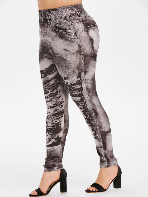 Faded Printed High Waisted Pull On Plus Size Jeggings - BLACK 4X