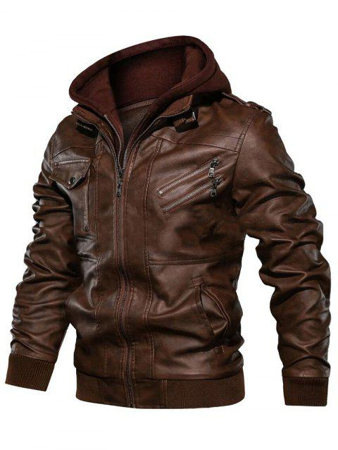 2 in 1 Faux Leather Zip Accent Hooded Jacket - BROWN 3XL