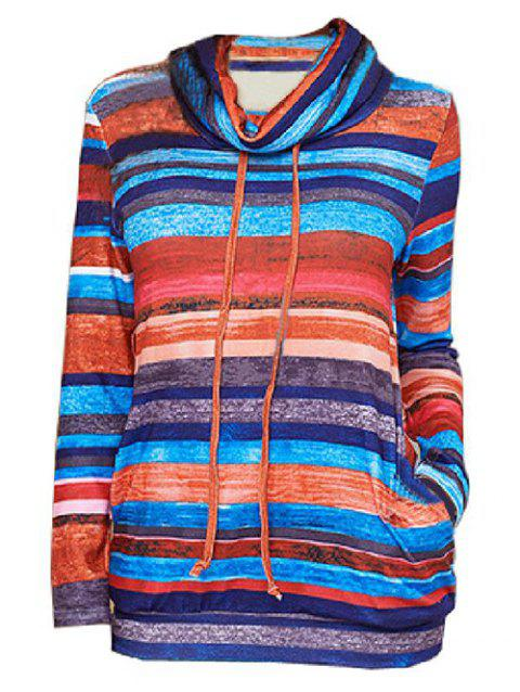 Striped Cowl Neck Drawstring Long Sleeves Top - multicolor 3XL