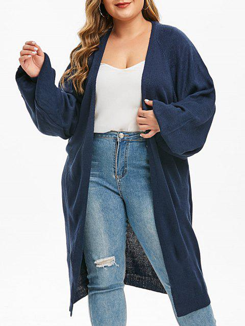 Plus Size Puff Sleeve Pockets Open Front Cardigan - CADETBLUE 2X