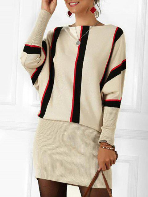 Striped Boat Neck Batwing Sleeve Knitted Blouson Dress - APRICOT ONE SIZE