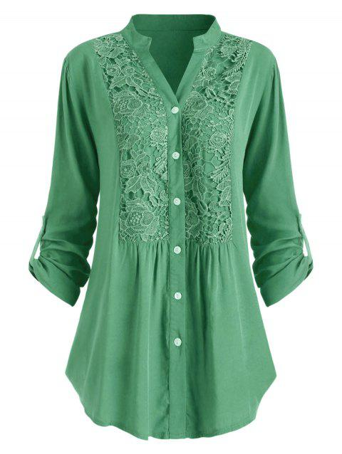 Plus Size Lace Crochet  Roll Up Sleeve Shirt - YELLOW GREEN 2X