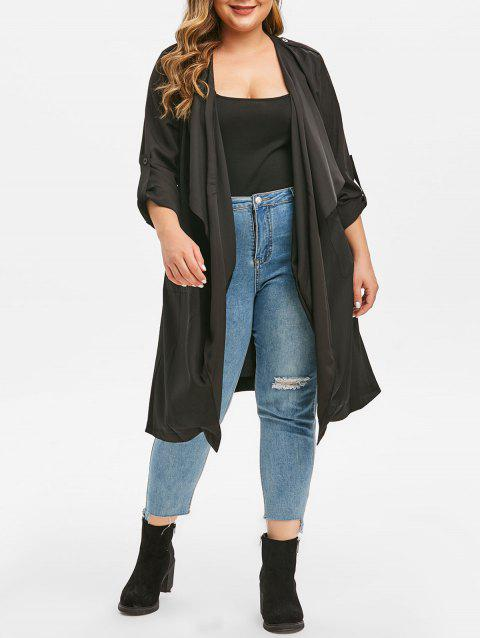 Plus Size Open Front Roll Tab Sleeve Trench Coat - BLACK 1X