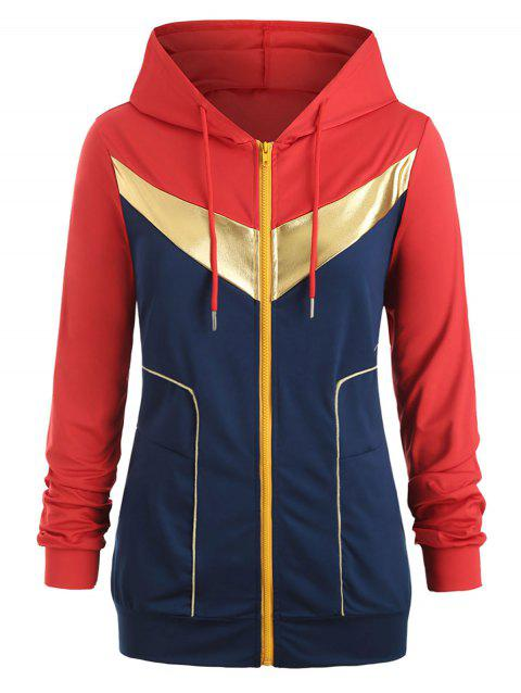 Gilding Piping Colorblock Zip Up Plus Size Hoodie - RED 1X