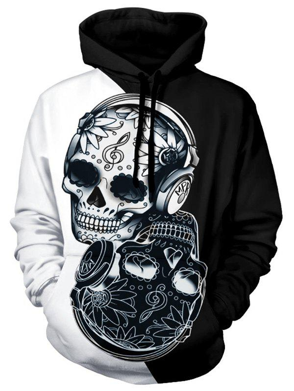 Floral Skull Two Tone Panel Halloween Hoodie - multicolor 2XL