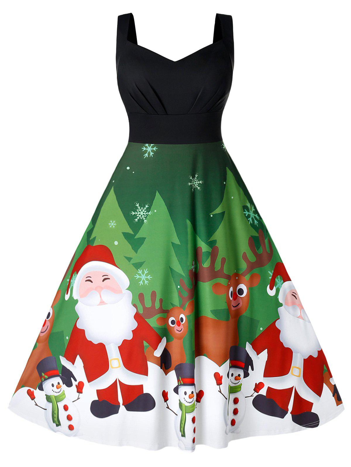 Plus Size Sweetheart Collar Christmas Sleeveless Dress - multicolor 1X