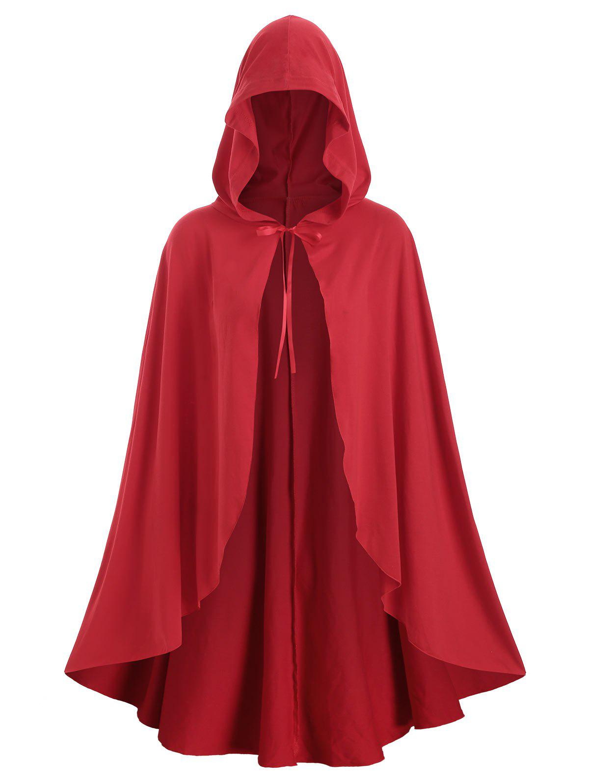 Christmas Hooded Tie Front Plus Size Cape Coat - RED 1X