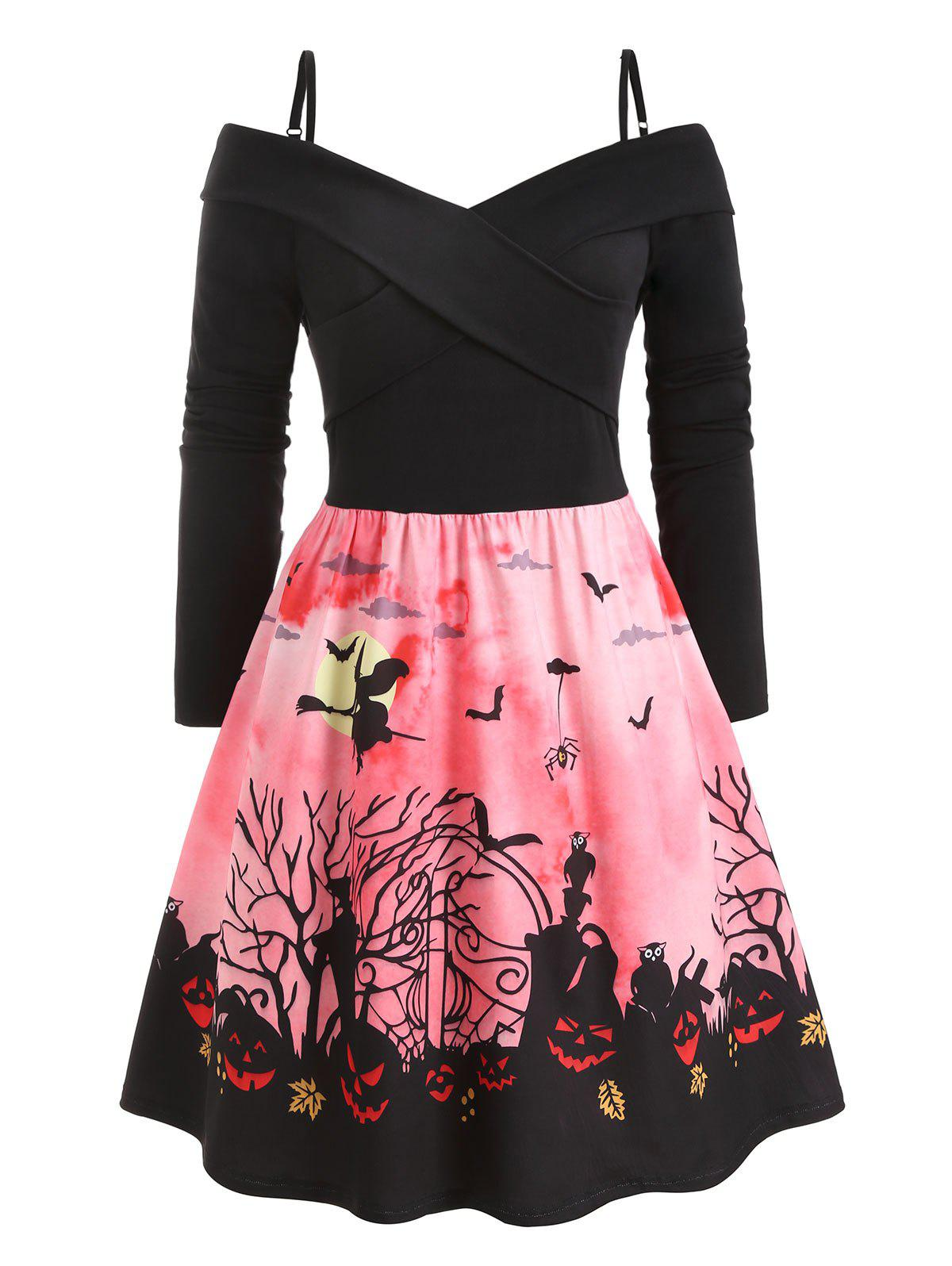 Plus Size Cold Shoulder Criss Cross Halloween Print Dress