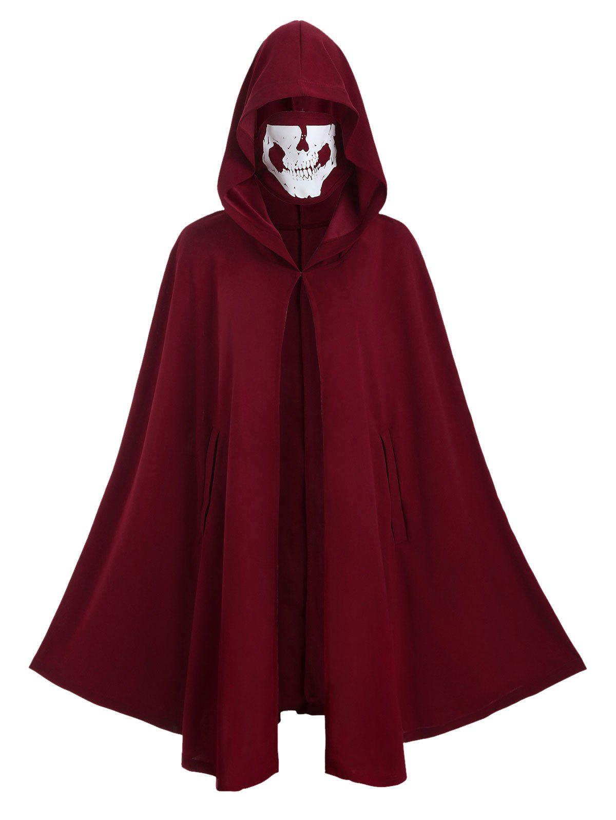 Halloween Hooded Hook-and-Eye Plus Size Cape Coat with Skull Mask - RED WINE 4X