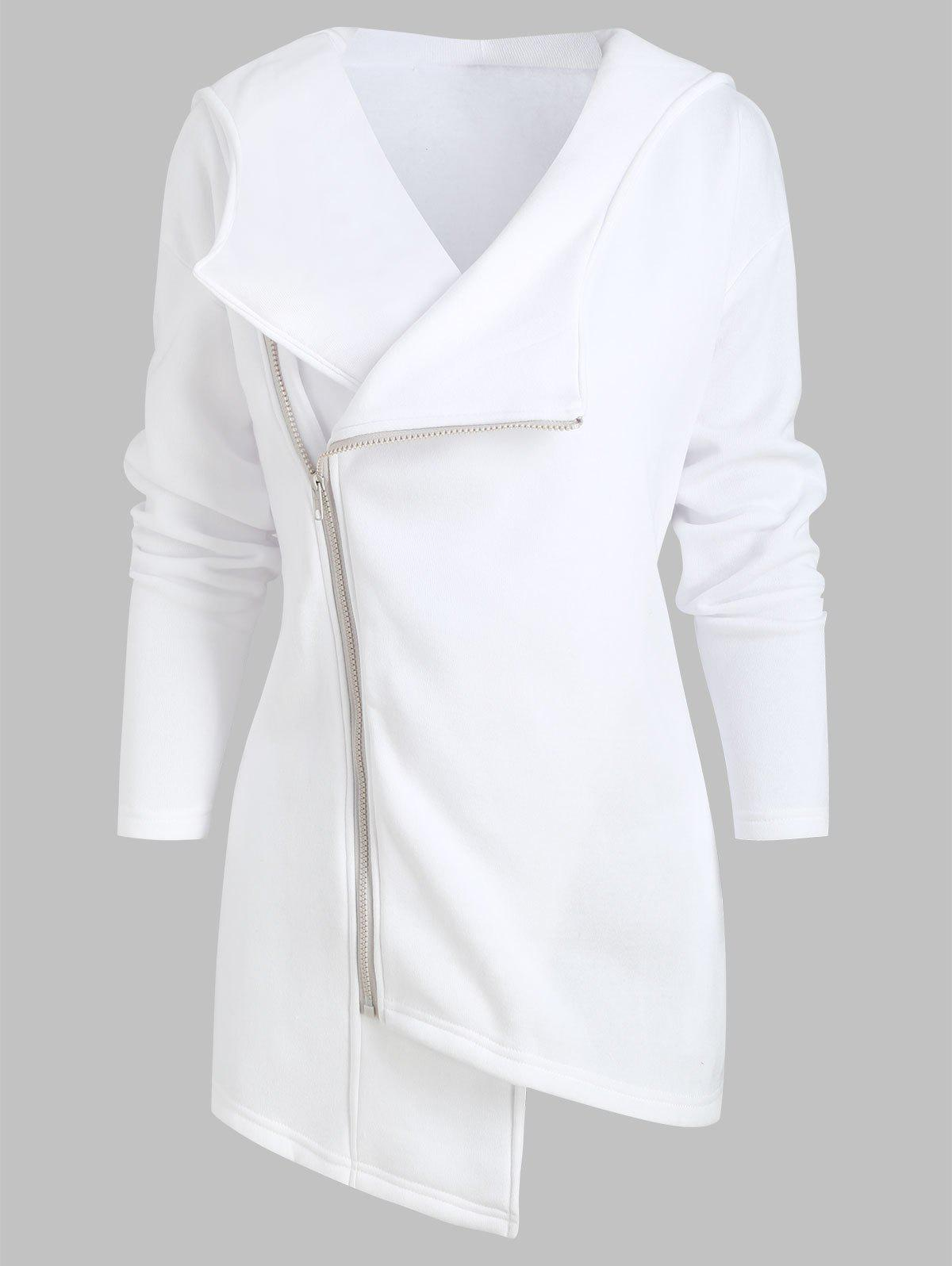 Inclined Zipper Asymmetric Hooded Jacket with Pockets - WHITE S