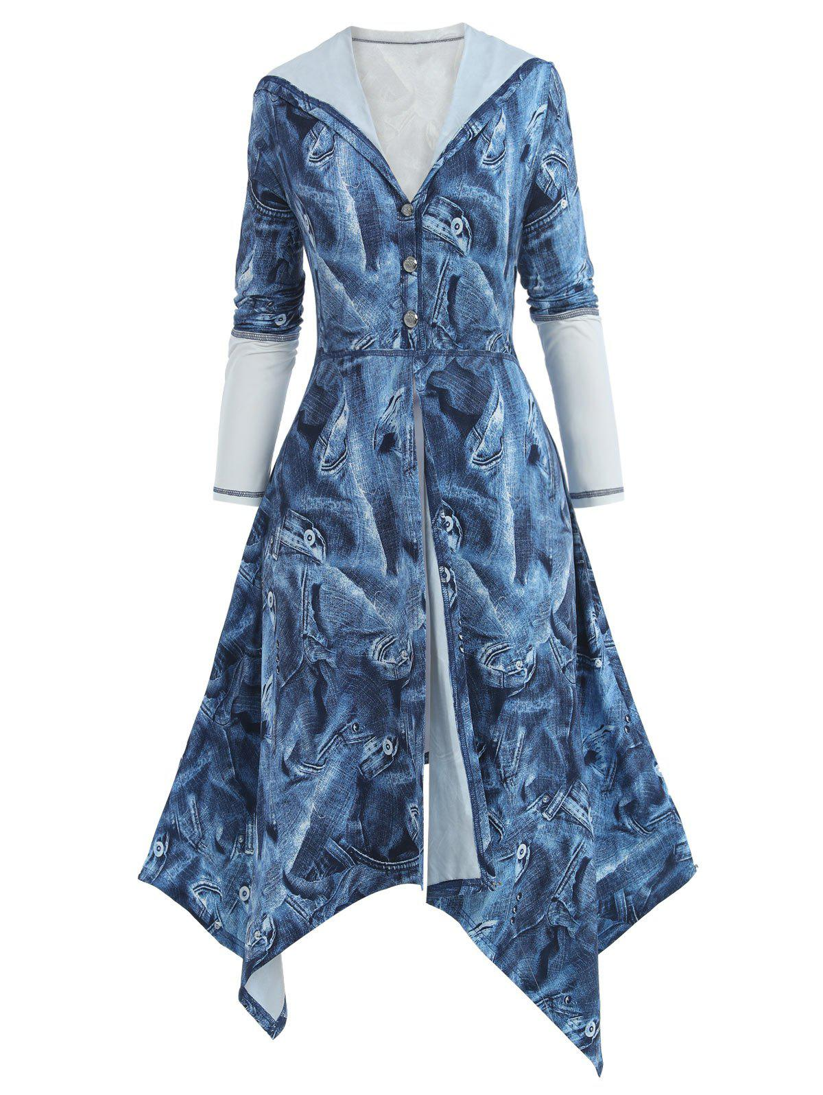 Plus Size Handkerchief Denim Print Hooded Skirted Coat - SLATE BLUE 4X