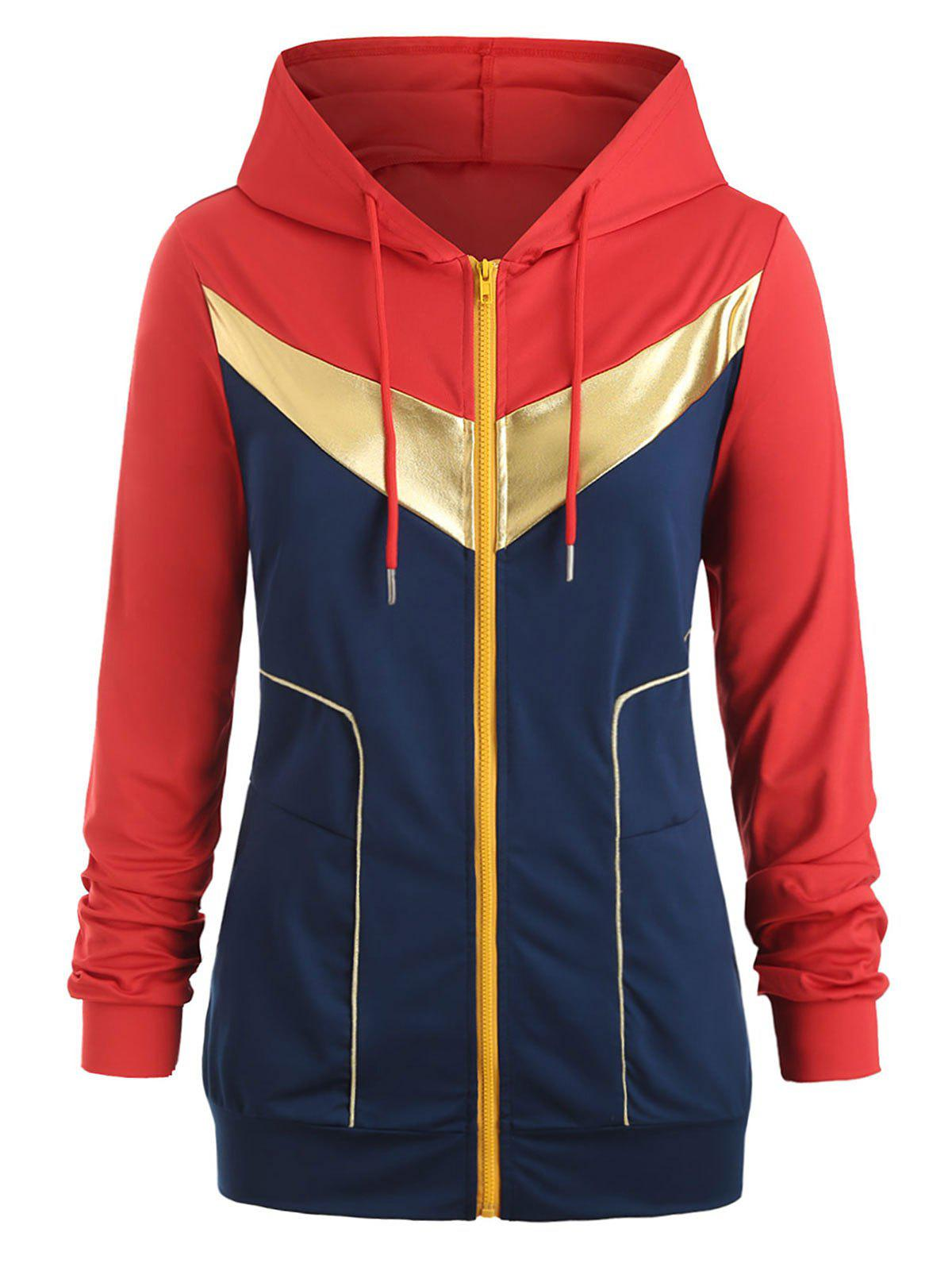 Gilding Piping Colorblock Zip Up Plus Size Hoodie - RED 3X