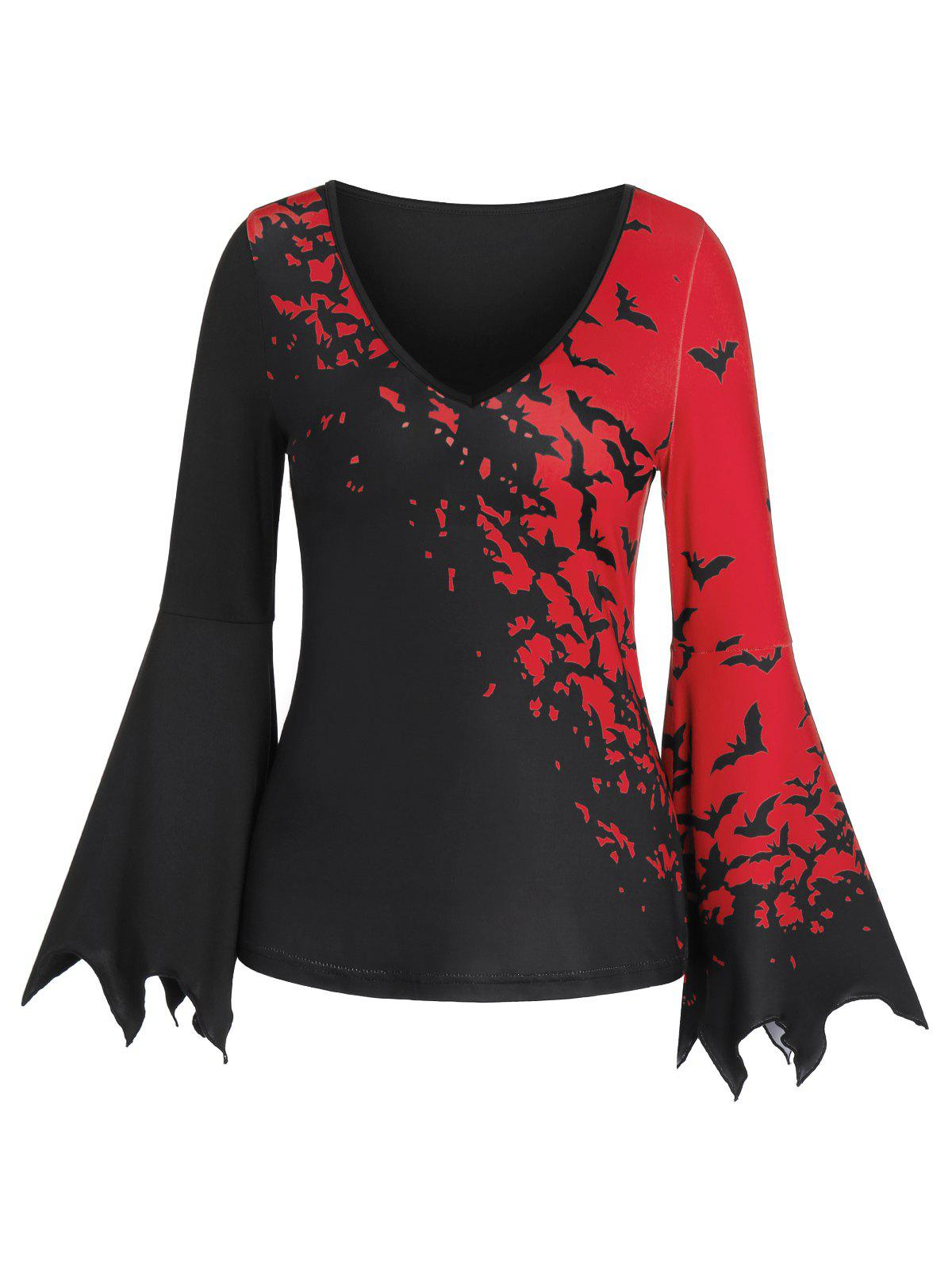 Plunging Neck Long Sleeve Bat Print T Shirt - BLACK XL