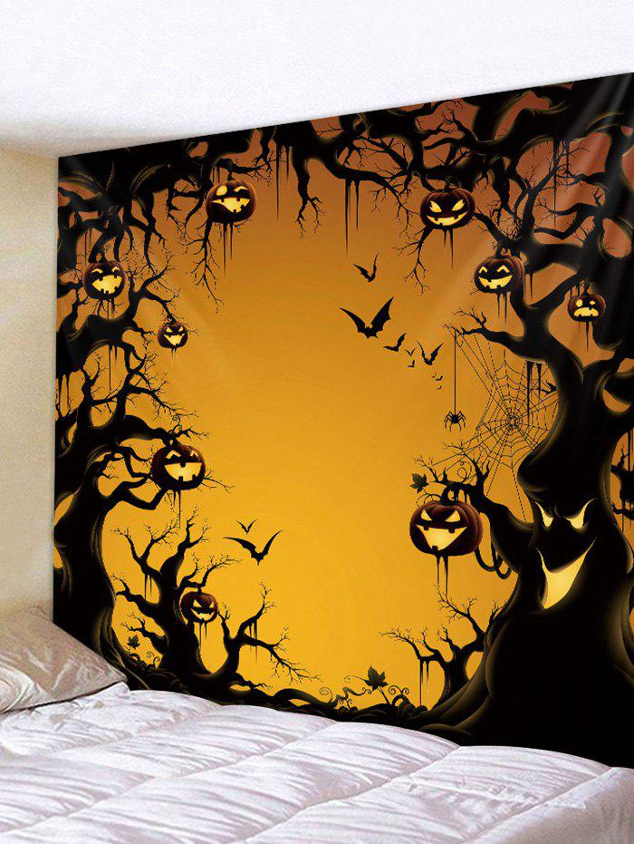 Gothic Pumpkin Tree Print Art Decoration Wall Tapestry - ORANGE GOLD W91 X L71 INCH