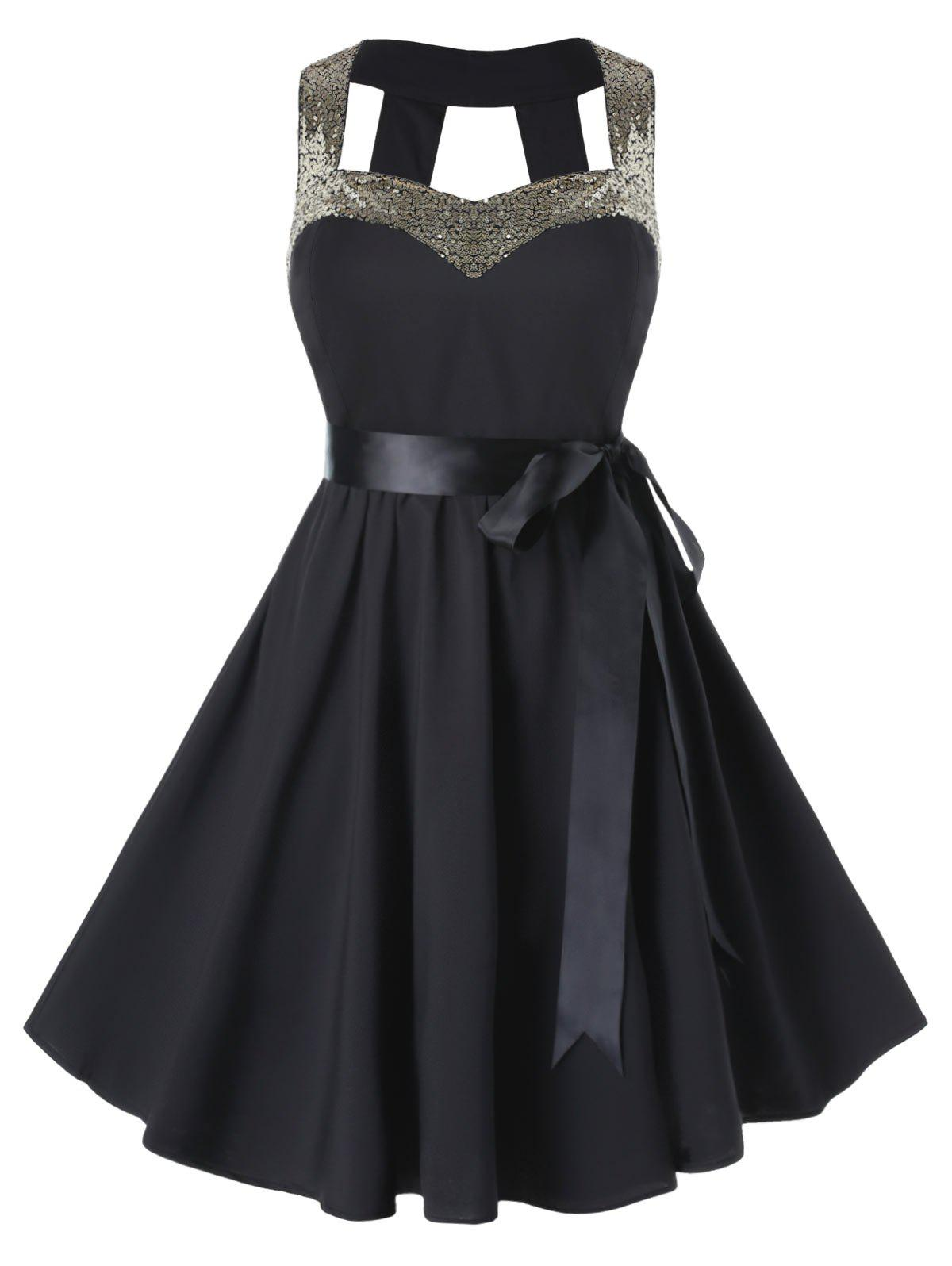 Plus Size Sequined High Waist Fit And Flare Vintage Dress