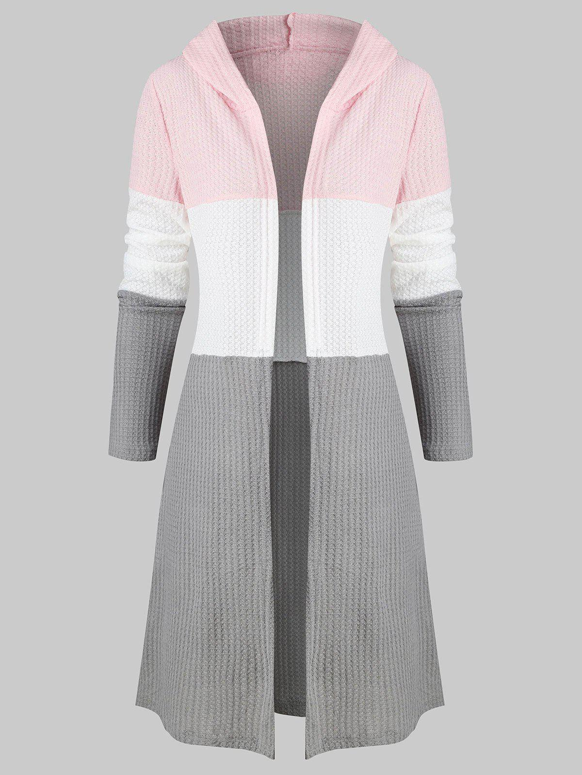 Colorblock Open Front Hooded Cardigan - PINK S