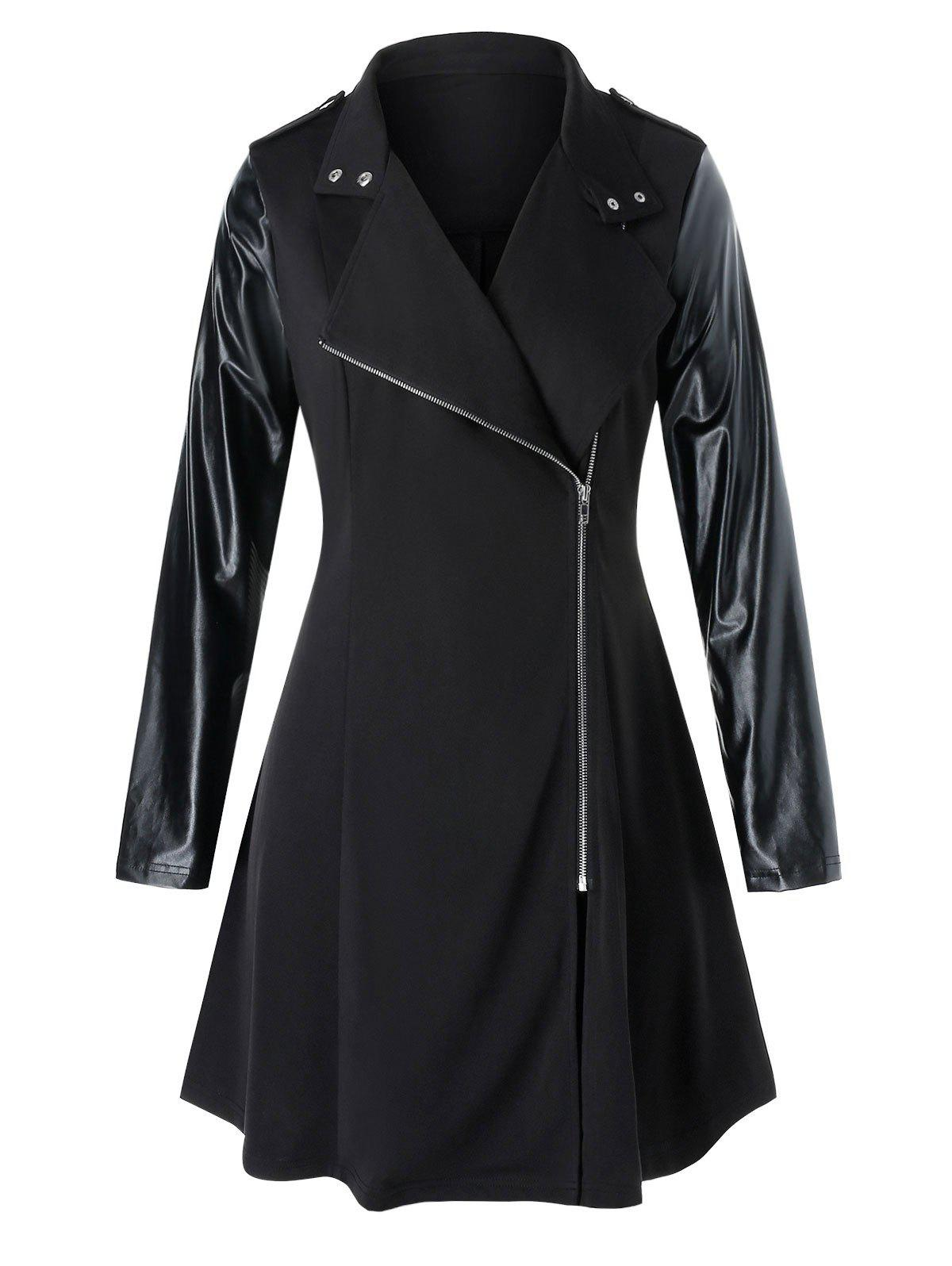 Plus Size PU Leather Panel Mixed-media Zip Up Coat - BLACK L