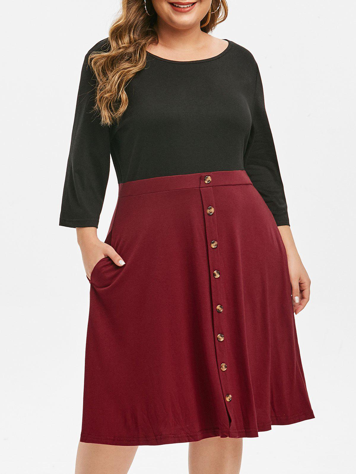 Plus Size Two Tone Button Embellished Dress - RED WINE 4X