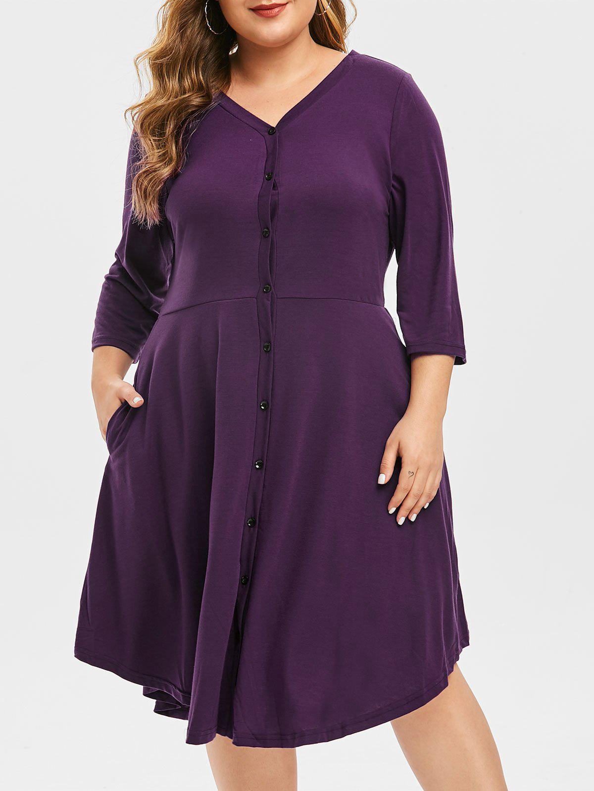 Plus Size Button Up Knee Length Dress - DARK ORCHID L