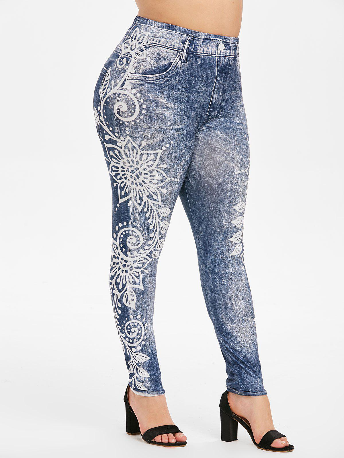 High Waisted 3D Printed Pull On Plus Size Jeggings - BLUE 5X