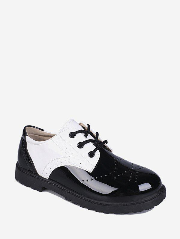 Wingtip Patent Leather Round Toe Shoes - WHITE EU 35