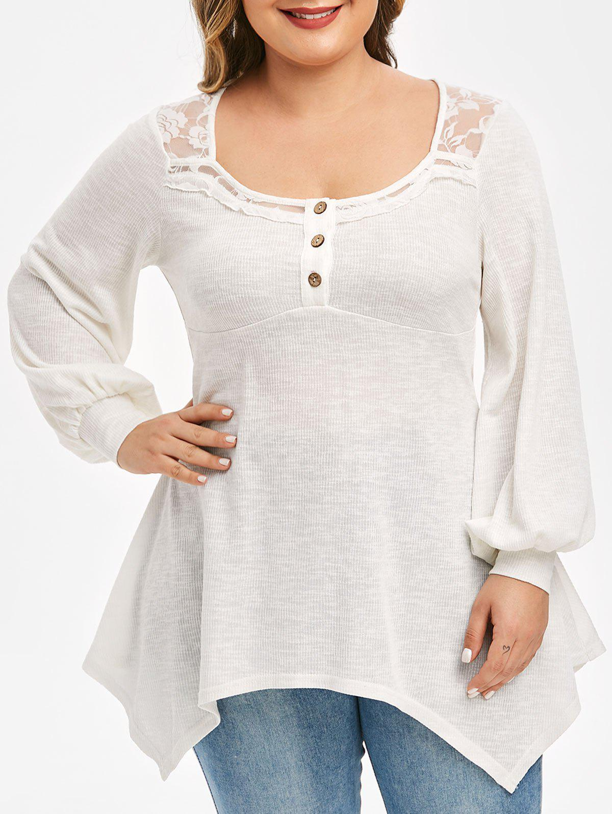 Plus Size Lace Insert Puff Sleeve Hanky Hem Top - WHITE M