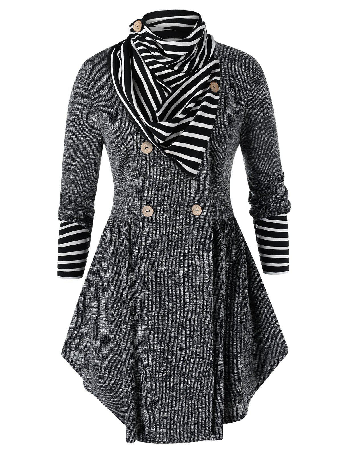 Plus Size Double Breasted Marled Skirted Cardigan With Striped Scarf - BLACK 1X