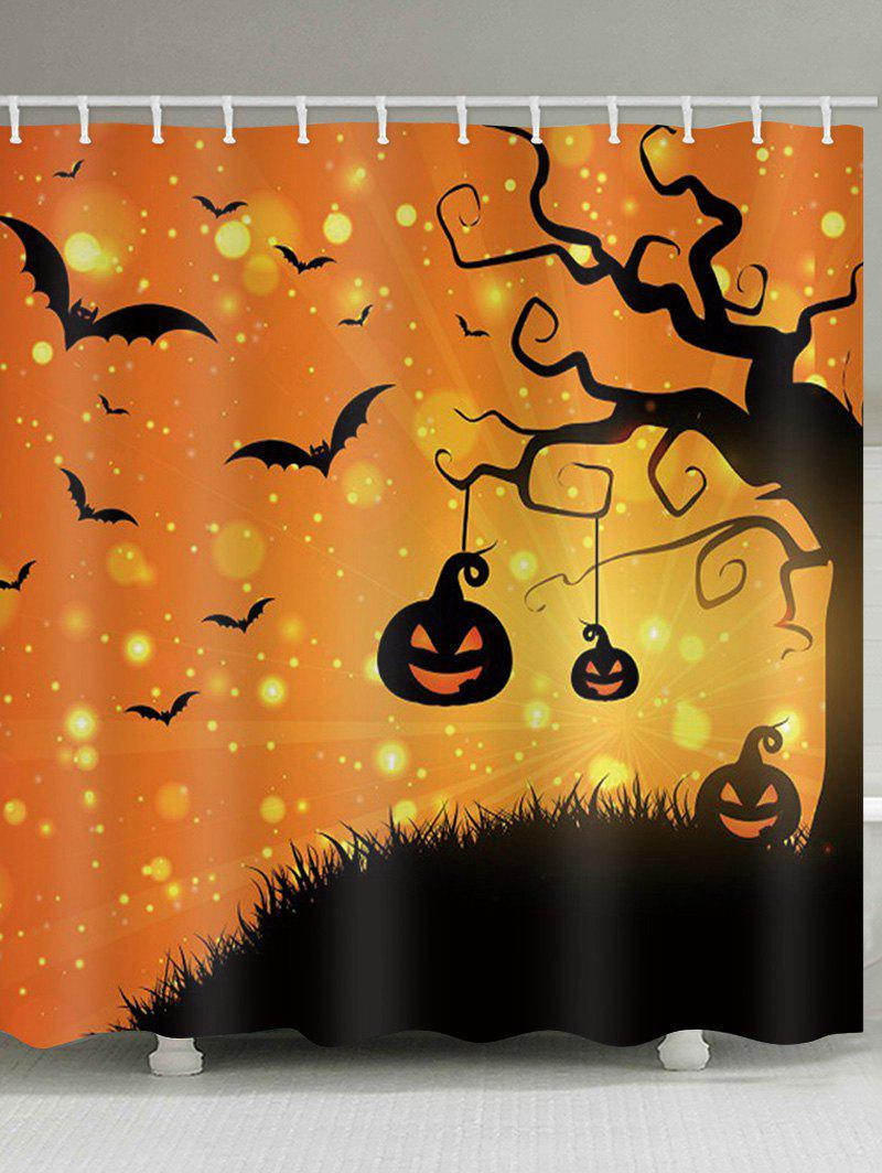 Halloween Pumpkin Tree Print Waterproof Bathroom Shower Curtain - HALLOWEEN ORANGE W71 X L71 INCH