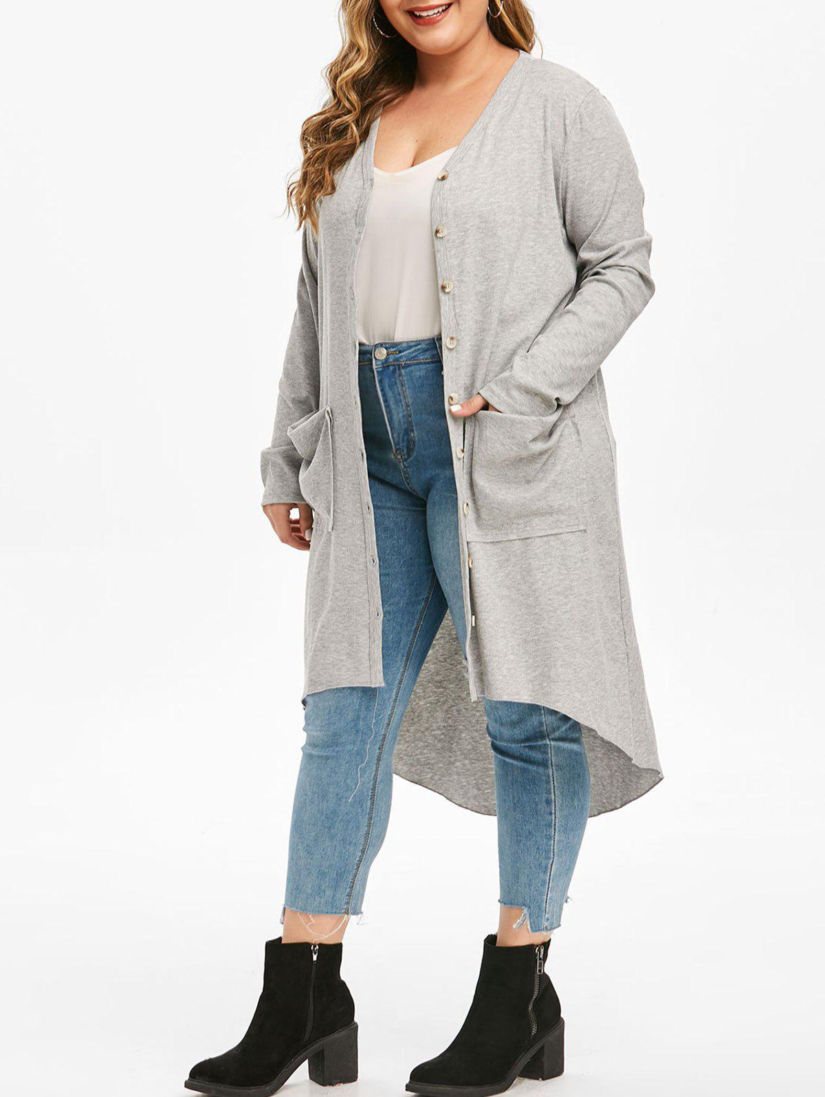 Button Up Pockets High Low Ribbed Plus Size Cardigan - LIGHT GRAY L