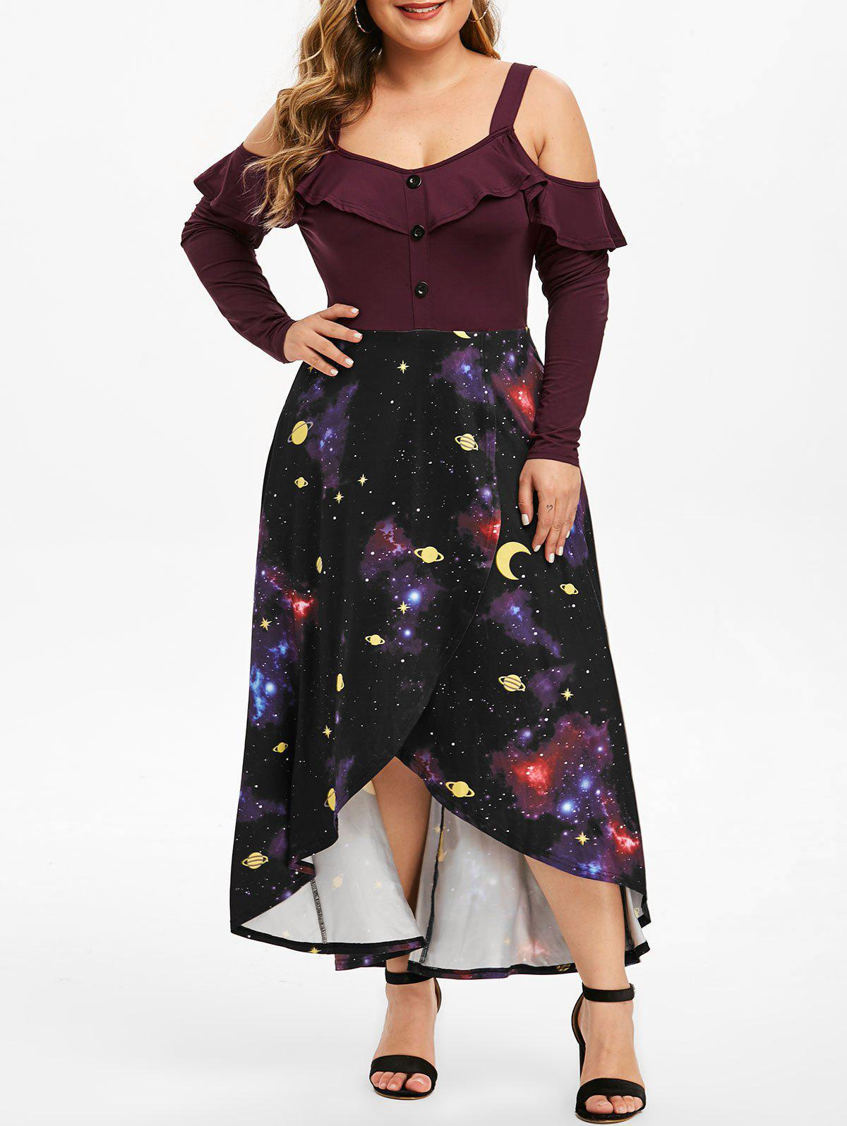 Plus Size Cold Shoulder Ruffled 3D Galaxy High Low Dress - PURPLE IRIS 2X